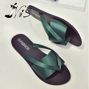NIS Femme Ribbon Mules Outdoor/Indoor Silk Flip Flops Women Black/Green Sexy Slides Casual Anti-slip Summer Sandals Flat Shoes
