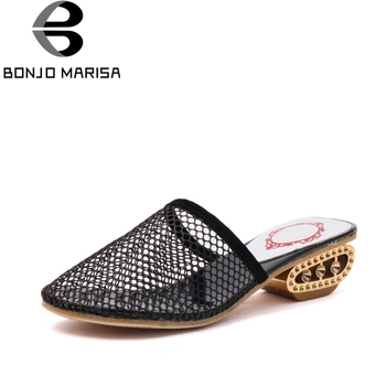 BONJOMARISA Air Mesh 2017 Summer Hollow Fretwork Fashion Mules Med Strange Heel With Rhinestone Women Shoes Size 35-39