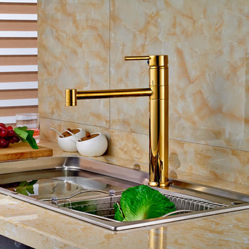 Gold Finish Kitchen Hot Cold Water Taps Single Handle Brass One Hole Mixer Faucet