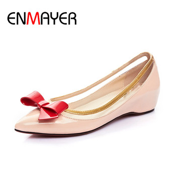 ENMAYER Supperstar Shoes Woman 2017 Supper Flats Party Shoes Plus Size 35-46 Bowties Charms Mary Janes Poined Toe Shallow Flats