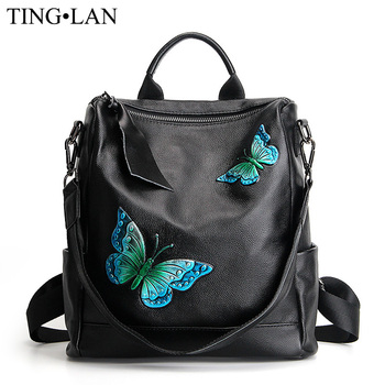 Luxury Genuine Leather Women's Backpack Designer Fashion Printing Backpacks Female Real Leather Black Backpack Large Capacity