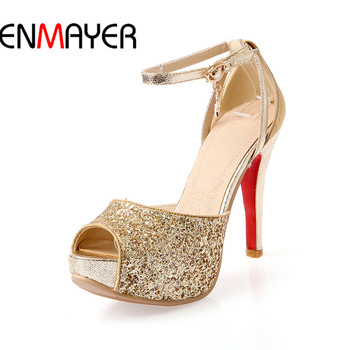 ENMAYER Mature Women Shoe11.5Peep-Toe Shoe2017Superstar Women Platform3.5 Ankle Strap Shoe Gold Shoe Lace-Up Fashion34-39