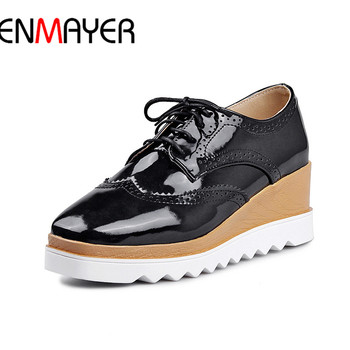 ENMAYER Womens Sandals Summer Walk Pumps Shoe 2017 Leather Wedges Heel Shoes Black White Red Shoe 34-43femme