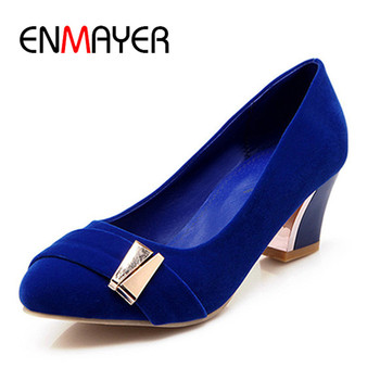 ENMAYER New Women Pumps Shoe5.5cm Pointed Toe Shoe Pu Square Heel Metal Decoration Shoe Leisure Blue Red Black Shoe34-47