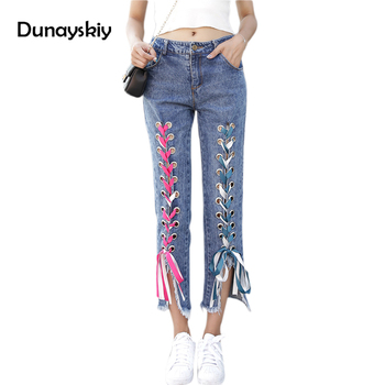 Front Lace Up Wide Leg Pants 2017 Summer Autumn High Waist Hollow Out Trousers Stretch Sexy Bandage Jeans Women Pants Dunayskiy