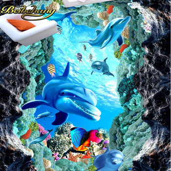 Beibehang Custom Floor Wall paper Papel De Parede 3D Stereoscopic Dolphin Sea Turtle Bathroom Floor PVC Mural wallpaper for wall