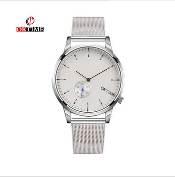 New Fashion top luxury brand OKTIME watches men quartz-watch stainless steel mesh strap ultra thin dial clock relogio masculino