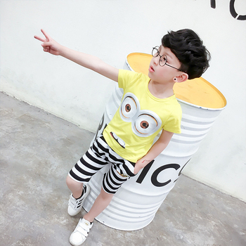 Cute wheat and wheat 2017 summer Korean boys and girls small yellow jacket cotton + black and white striped shorts