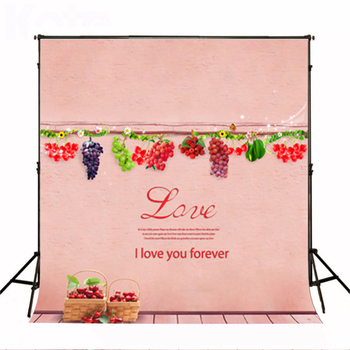 Wedding Photography Background Hanging Fruit Basket Photo Booth Backdrops Pink Wood Floor Background for Photographic Studio