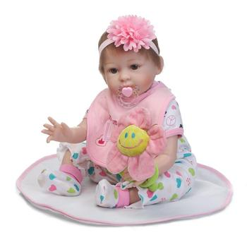 22inch Handmade Reborn Dolls Lifelike Silicone Reborn Baby Doll With Pacifier Flower Realistic Dolls for girls brinquedos